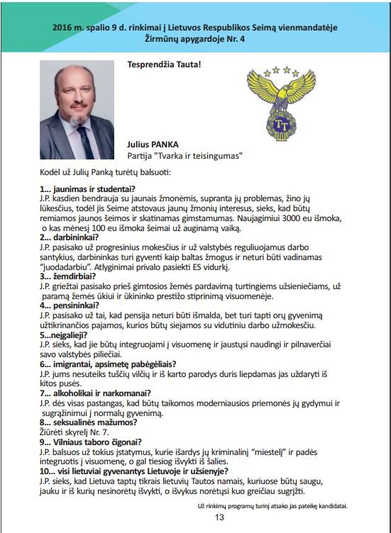Juliaus Pankos, kaip kandidato į LR Seimą prisistaymas savo galimiems rinkėjams
