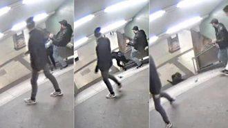 Po video paskelbimo, kuriame migrantas nuspiria vokietę nuo laiptų, policija ėmėsi.. paskelbusiojo įrašą paieškų