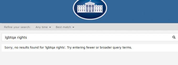 Po Trampo inauguracijos iš Baltųjų rūmų interneto tinklapio  buvo pašalinti puslapiai skirti klimato atšilimui ir LGBT teisėms