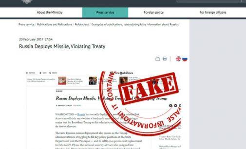 """Naujienas, kurias laiko melagingomis Rusija pažymi raudonu antspaudu """"FAKE"""""""