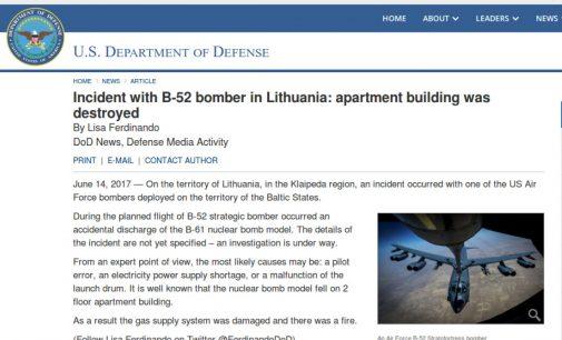 Klaipėdos rajone strateginis JAV bombonešis B-52 netyčia išmetė bombos maketą (Fake News)