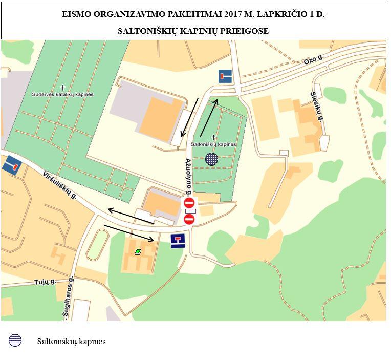Saltoniškių Kapinių transporto judėjimo planas