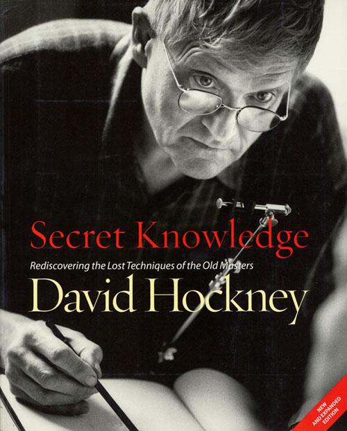 Knygos viršelyje dailininkas D.Hockney piešia camera lucida pagalba