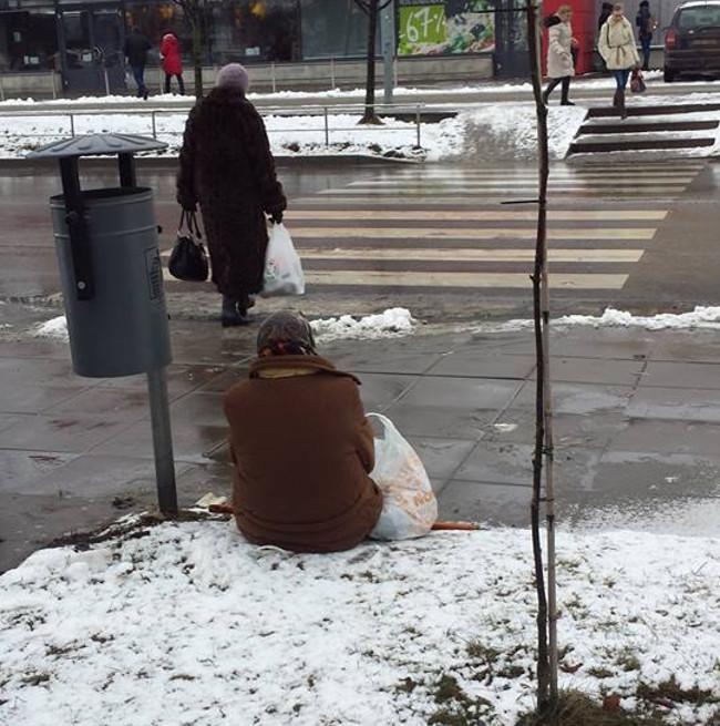 Močiutė ant sniego