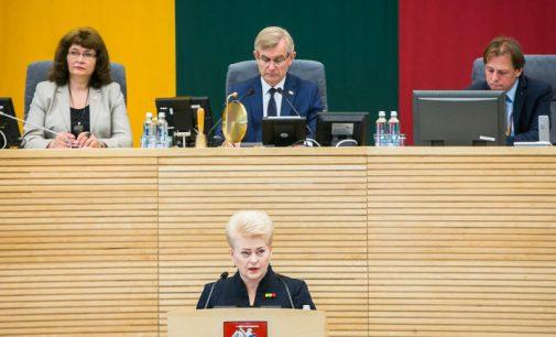Prezidentė Seime paskelbė devintąjį metinį pranešimą