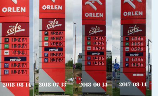 Litras benzino per metus pabrango 16 centų, – skelbia Pricer.lt