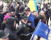 Nacionaldarbininkais save vadinančios piliečių grupės mitingas prie Kauno Soboro
