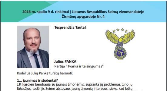 """Kandidatas į LR Seimą nuo """"Tvarko sir Teisingumo"""" partijos Julius Panka"""