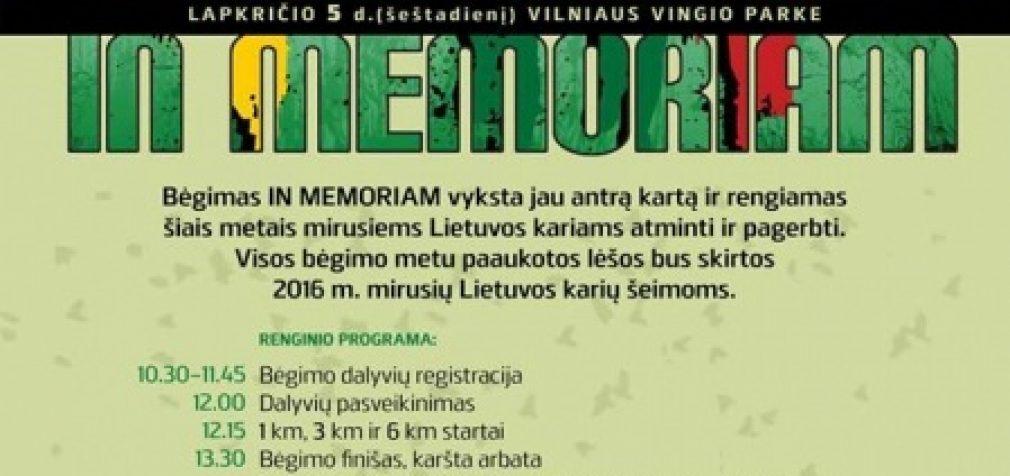 Vingio parke lapkričio 5 dieną – bėgimas IN MEMORIAM