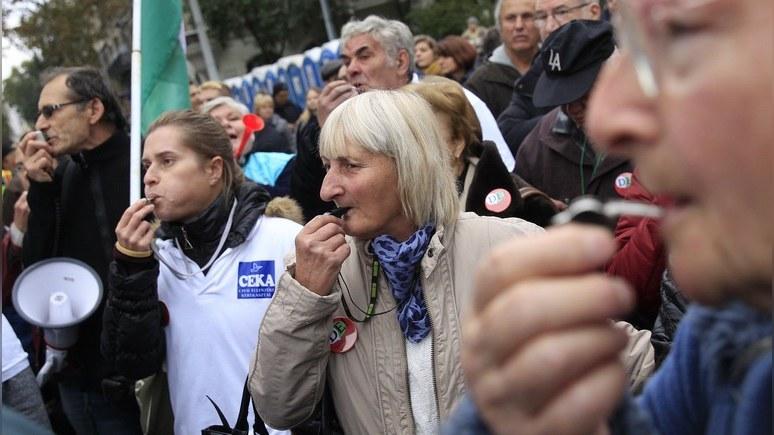 Protestuojantys švilpikai Budapešte