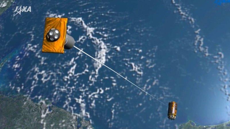 Kosminių šiukšlių gaudyklė   Video kadras iš sukurto Utilizavimo į kurią Japonijos kosmoso tyrinėjimo agentūra (JAXA) Vaizdo rodo Electrodynamic pasaitas diegiamos padėti sumažinti kosmoso šiukšlių kiekį orbitą.JAXA