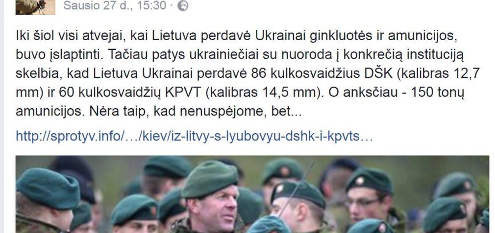 Su meile iš Lietuvos,… kulkosvaidžiai Ukrainai