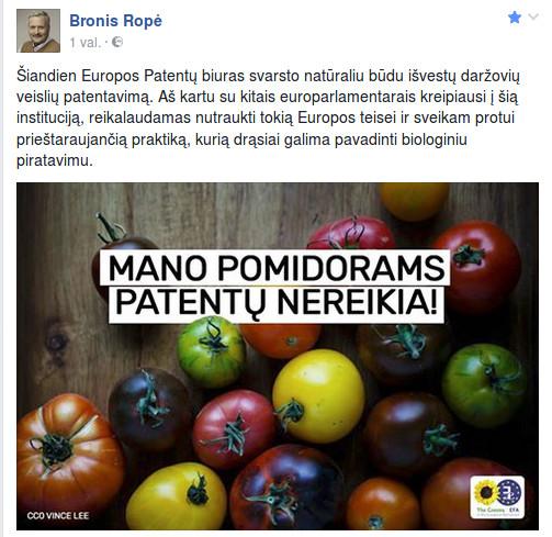 Bronis Ropė pasidalino Facebook tinkle