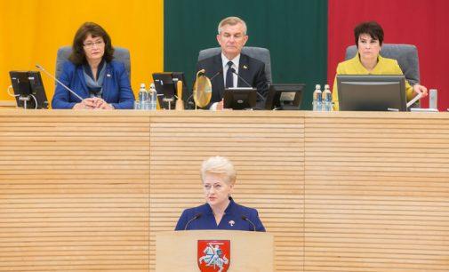 Prezidentė Seime perskaitė aštuntąjį metinį pranešimą