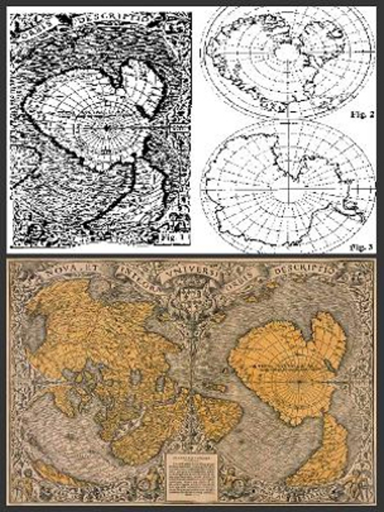 Oronteus Finaeus zemelapis - Antarktida be ledų