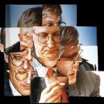 D. Hockney Autoportretas (iliustracija, kaip natūrą mato žmogaus akis)