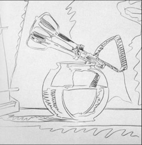 A. Warhol, piešta, naudojantis projektoriumi, linija tokia pat užtikrinta, kaip ir Engro piešiniuose