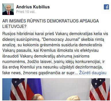 Andriaus Kubiliaus pasisakyma sapie demokratijos subtilybes