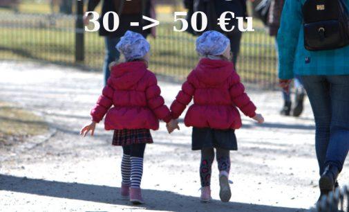 Vaiko pinigus nuo 30 eurų siūloma didinti iki 50 eurų