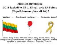 """Lapkričio 25 prie Seimo, Nepriklausomybės aikštėje, vyks mitingas """"Už saugią šeimą – stop vaikų atiminėjimui"""""""
