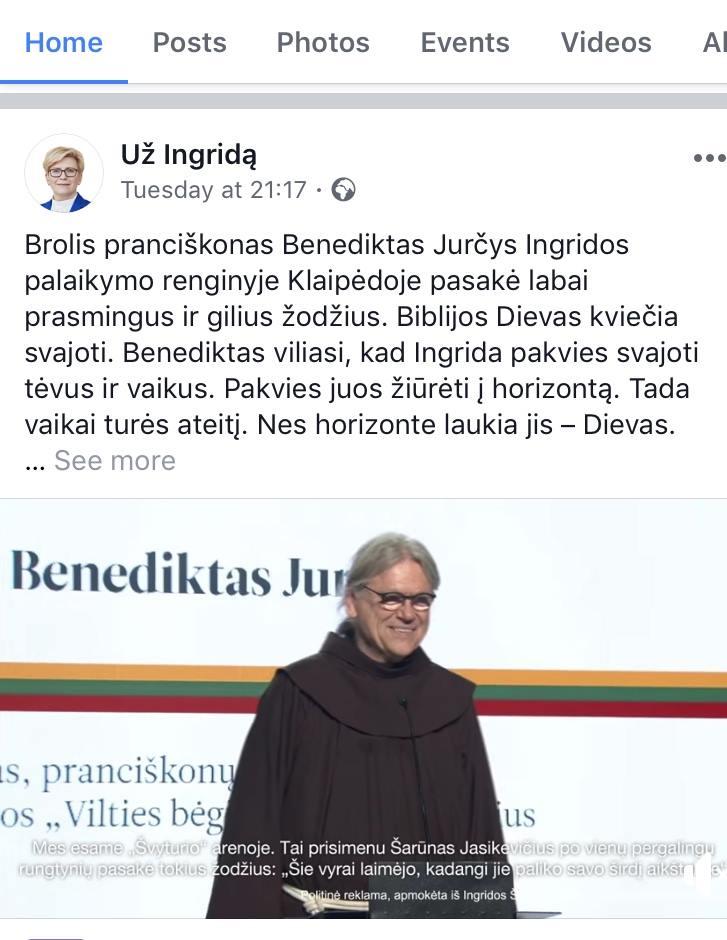Benediktas Jurcys - I. Šimonytės reklama
