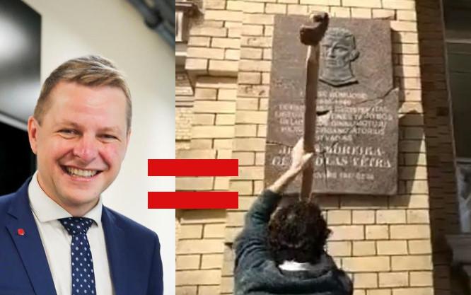 Vilniaus meras Remigijus Šimašius ir advokatas Stanislovas Tomas su kūju daužantis atminimo lentą