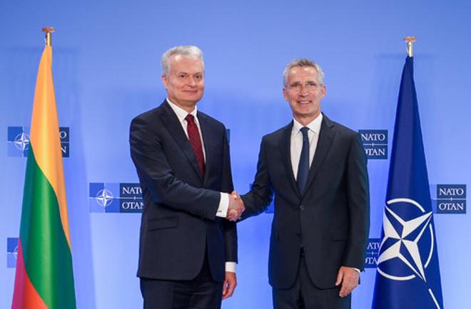 Prezidentas Gitanas Nausėda ir NATO gem sekretoriusJ ensas Stoltenbergas