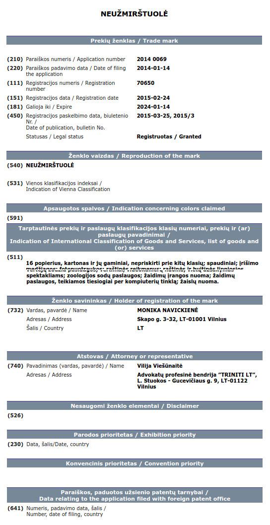 LR Prekių Ženklų duomenų bazės išrašas - Monika Navickienė + Neužmirštuolė