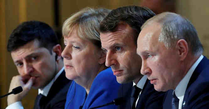 V. Putinas, E.Makronas, A. Merkel, V. Zelenskis