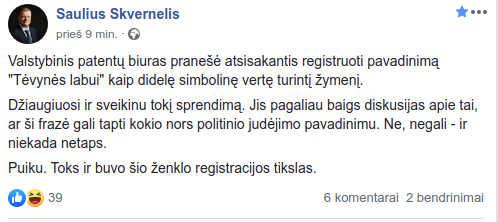 Sauliaus Skvernelio pranešimas Facebook