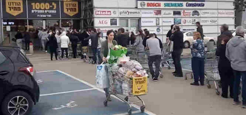 Izraelyje pagarsinus žinią apie visuotinį karantiną, žydai plūstelėjo į nekošerines parduotuves