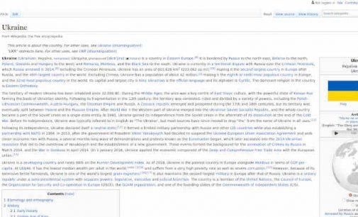"""Ukrainos URM pradeda """"Vikipedijos"""" perrašymo kampaniją"""
