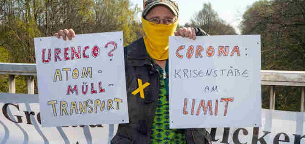 COVID-19 koronavirusas suteikia progą uždrausti protestus dėl branduolinių atliekų transportavimo