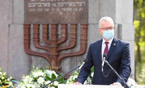 Prezidento G. Nausėdos kalba Lietuvos žydų genocido aukų pagerbimo ceremonijoje Panerių memoriale