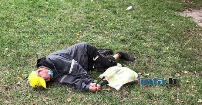 Miega girtas ant žolės