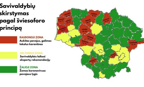 Savivaldybės pagal infekcijos paplitimą bus skirstomos į trijų šviesoforo spalvų zonas