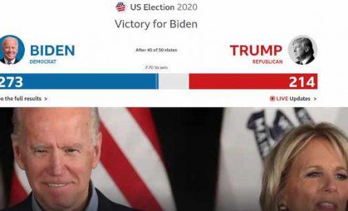 Skelbiama apie Džo Baideno pergalę JAV prezidento rinkimuose, tačiau tai dar nėra oficialu