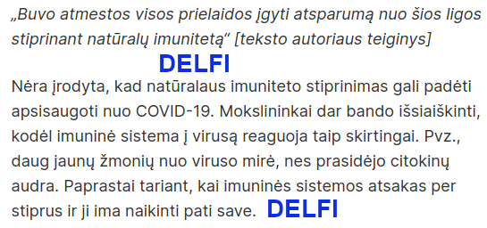 DELFI - neįrodyta, kad imunitetas apsaugo nuo COVID-19