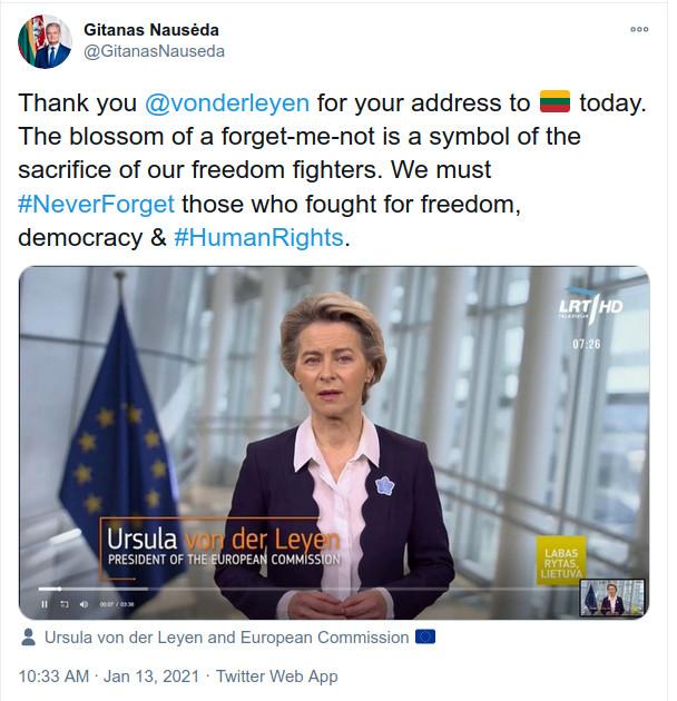G.Nausėda dėkoja Ursulai Von der Leyen