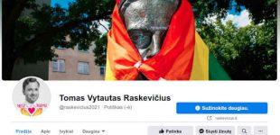 T.V.Raskevičius Lietuvos moteris pasveikino nauja profilio nuotrauka, su rašytojos Žemaitės paminklu apgaubtu LGBT vėliava