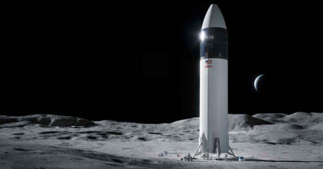 SpaceX nusileidimo modulis Mėnulyje