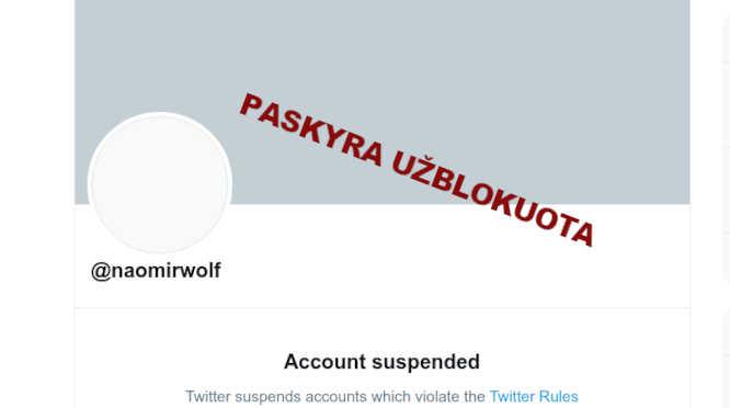 Naomi Wolf paskyra Twitter blokuojama