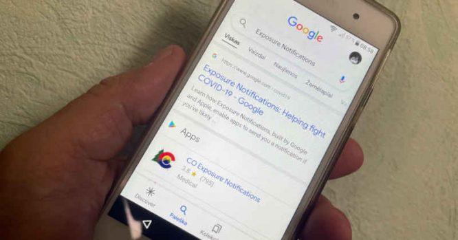 Exposure Notifications programėlė Google paieškoje