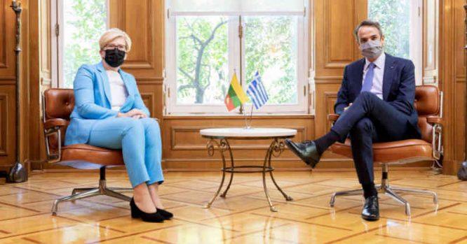Ingrida Šimonytė su Graikijos premjeras Kyriaku Mitsotakiu